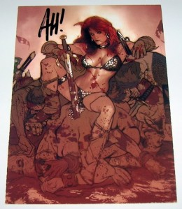 Signed Red Sonja art card