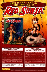 Art of Red Sonja and Red Sonja statue ad