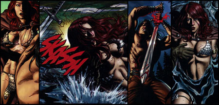 Sonja loses in combat (as well as her top)