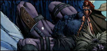 Red Sonja defeats the Frost Giant